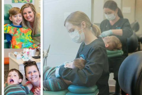 Collage images of child dental care