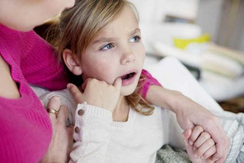 Little girl having cavities