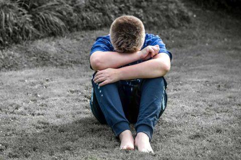 Alone boy child in fear