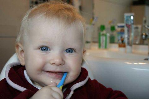 Little boy doing brushing